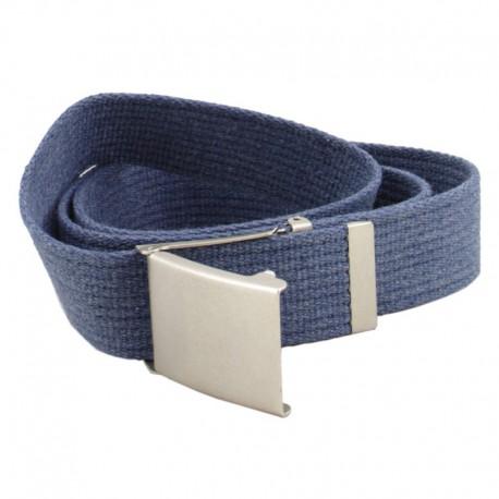 Pasek parciany jeansowy do spodni niebieski - klapka