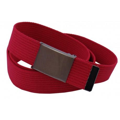Pasek parciany długi XXL jeansowy do spodni czerwony - ciemna klapka