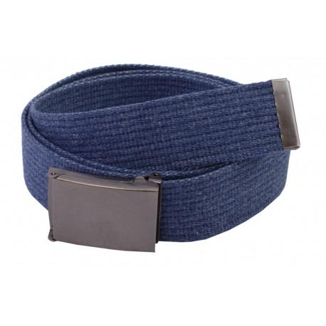 Pasek parciany długi  jeansowy do spodni niebieski - ciemna klapka