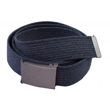 Pasek parciany  jeansowy do spodni szaro popielaty - ciemna klapka