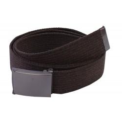 Pasek parciany  jeansowy do spodni brązowy - ciemna klapka