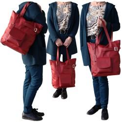 Torebka skórzana czerwony shopper bag worek oversize