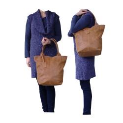 Torebka skórzana kuferek shopper do pracy szkoły Camel vintage