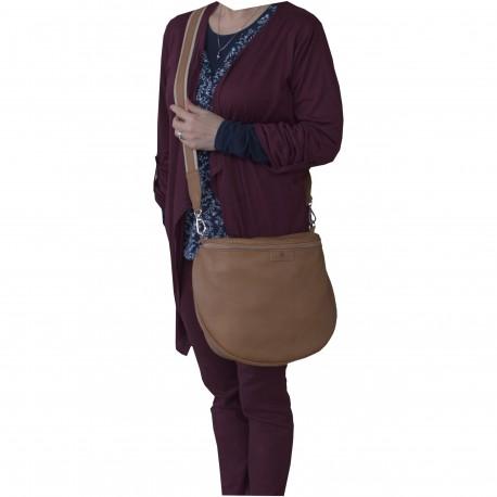 Torebka ze skóry damska poręczna BAG listonoszka rudy brąz camel kolor Balencja
